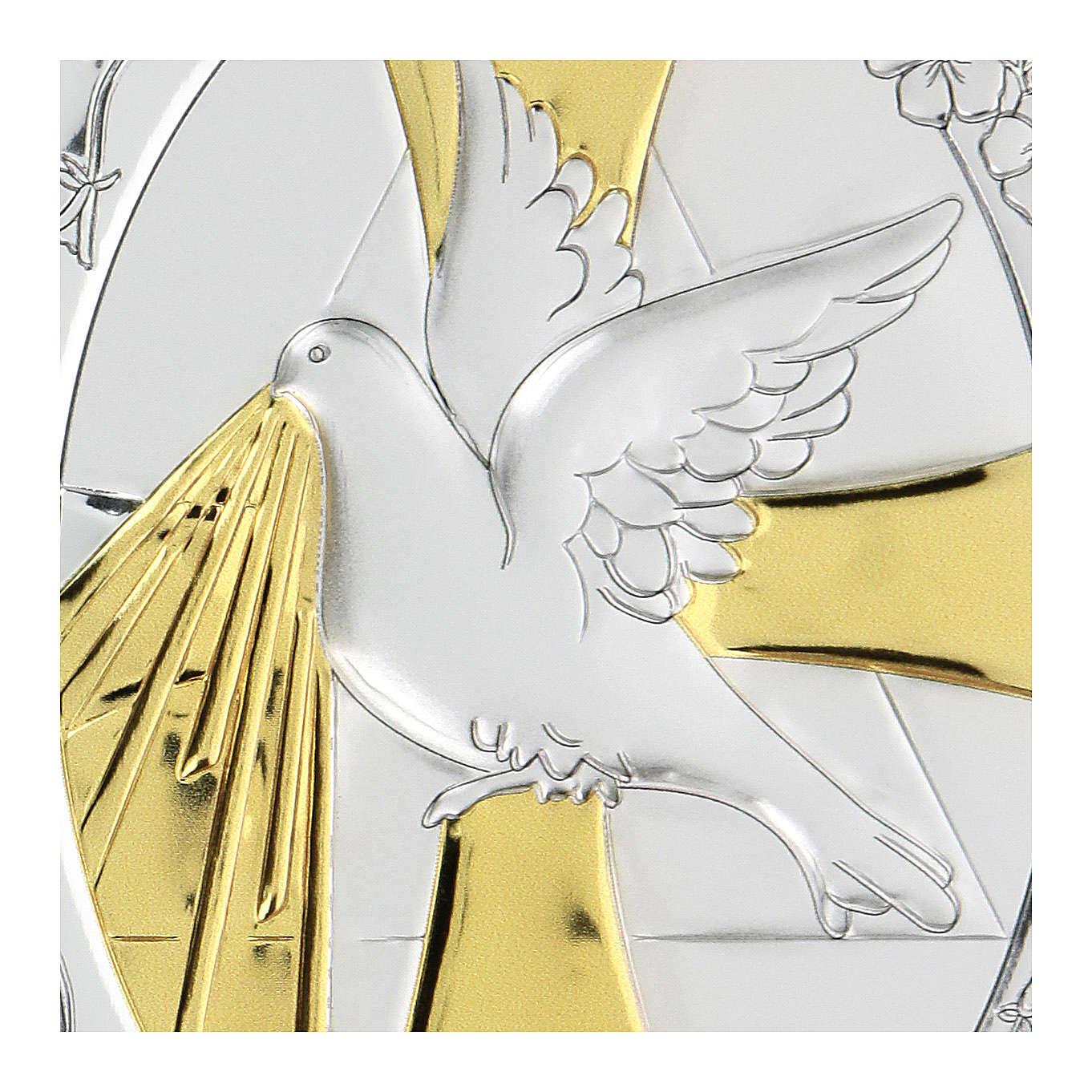 Bas-relief in bilaminate silver Dove of peace 10x7 cm 4