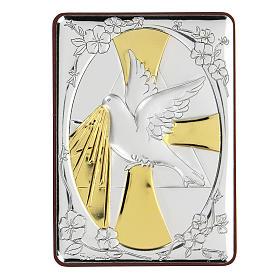 Bas-relief in bilaminate silver Dove of peace 10x7 cm s1
