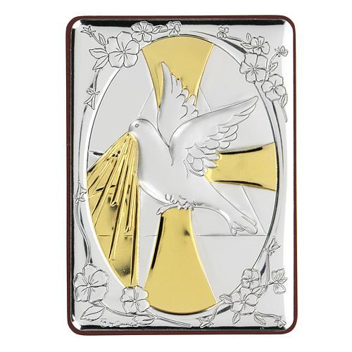 Bas-relief in bilaminate silver Dove of peace 10x7 cm 1