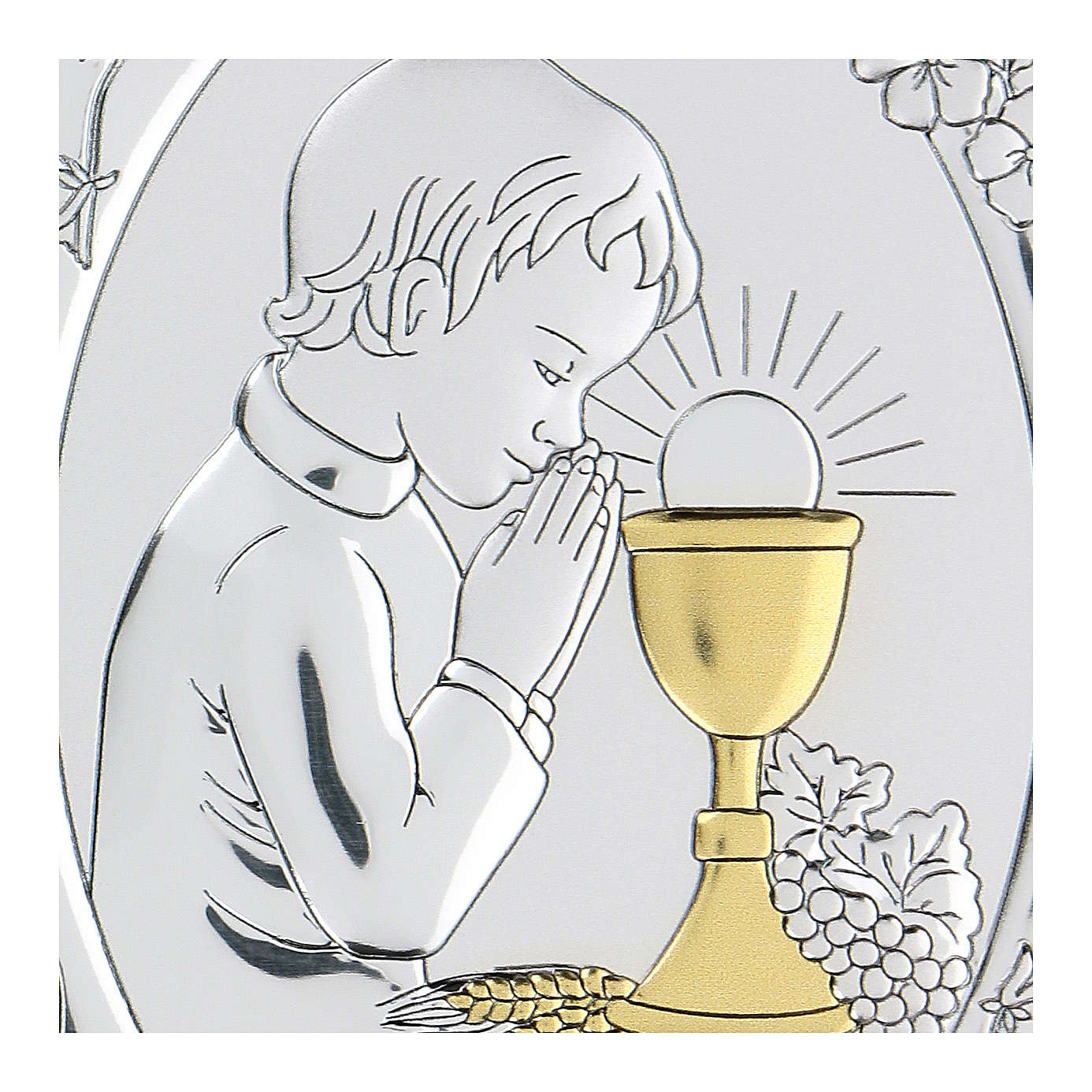 Bas-relief in bilaminate silver Child praying for Holy Communion 10x7 cm 4