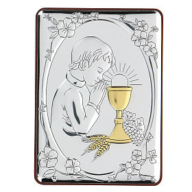 Bas-relief in bilaminate silver Child praying for Holy Communion 10x7 cm s1