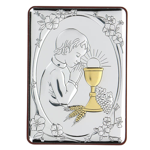 Bas-relief in bilaminate silver Child praying for Holy Communion 10x7 cm 1