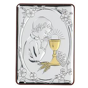 Bassorilievo bilaminato Bambino in preghiera per Comunione 10x7 cm s1