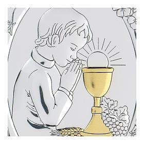 Bassorilievo bilaminato Bambino in preghiera per Comunione 10x7 cm s2