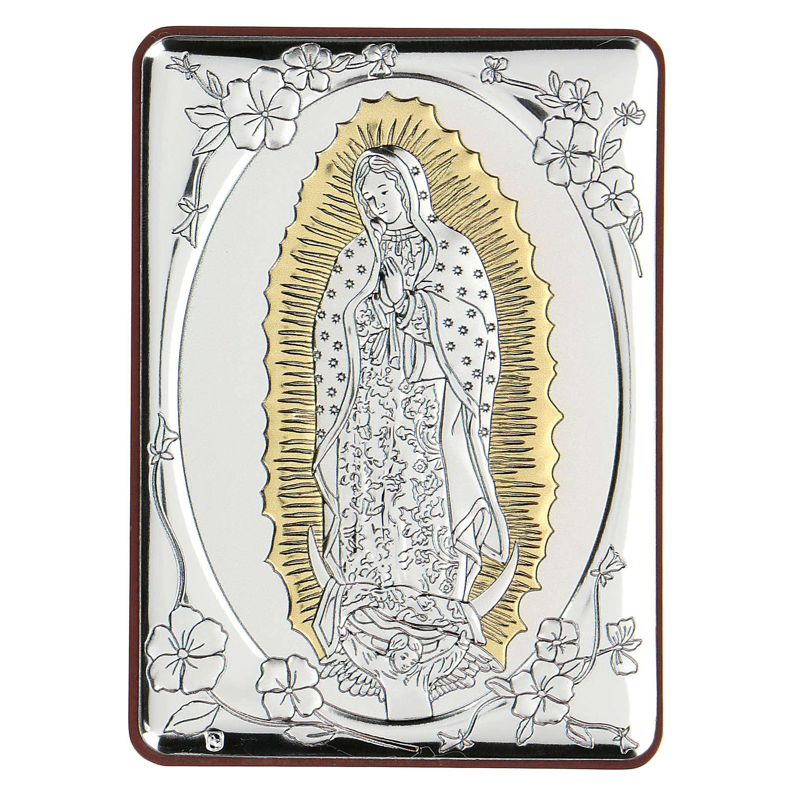 Bas-relief in bilaminate silver Our Lady of Guadalupe 10x7 cm 4