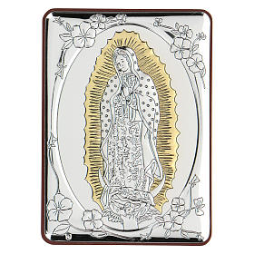 Bas-relief in bilaminate silver Our Lady of Guadalupe 10x7 cm s1