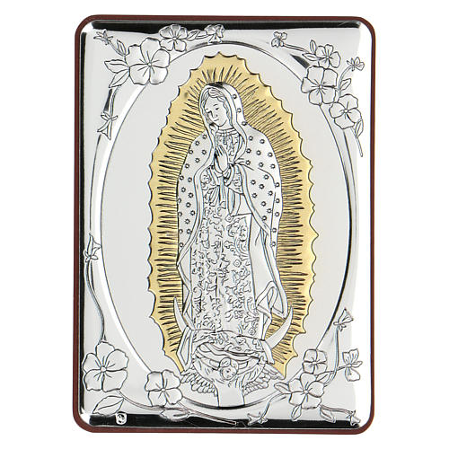 Bas-relief in bilaminate silver Our Lady of Guadalupe 10x7 cm 1