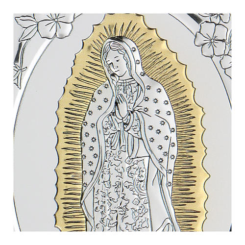 Bas-relief in bilaminate silver Our Lady of Guadalupe 10x7 cm 2