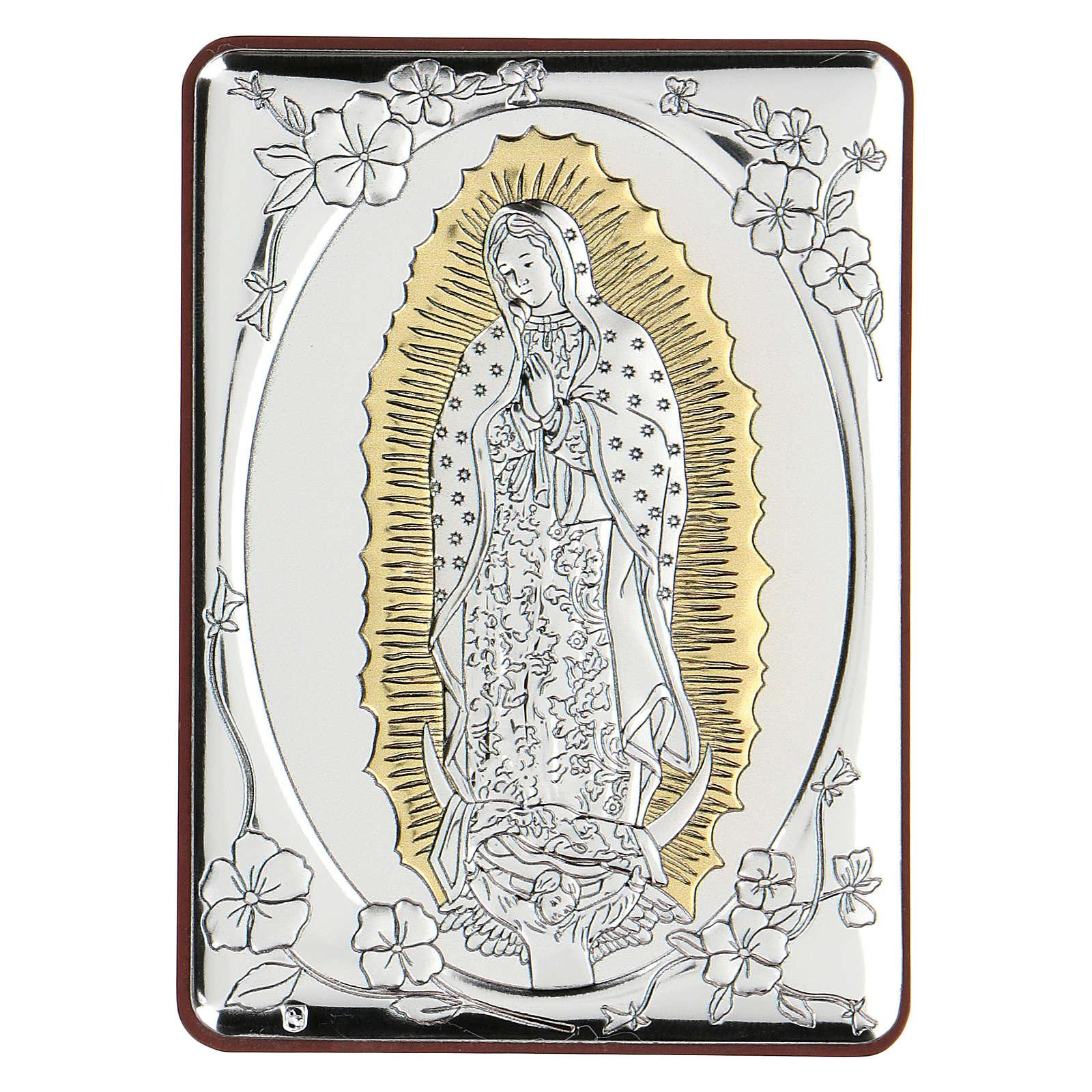 Bas-relief argent bilaminé Notre-Dame de Guadalupe 10x7 cm 4