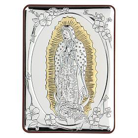 Bas-relief argent bilaminé Notre-Dame de Guadalupe 10x7 cm s1
