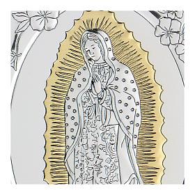 Bas-relief argent bilaminé Notre-Dame de Guadalupe 10x7 cm s2