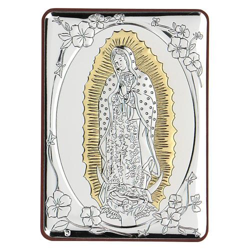 Bas-relief argent bilaminé Notre-Dame de Guadalupe 10x7 cm 1