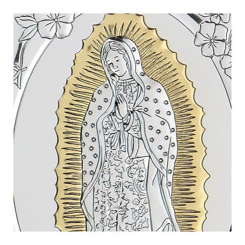 Bas-relief argent bilaminé Notre-Dame de Guadalupe 10x7 cm 2