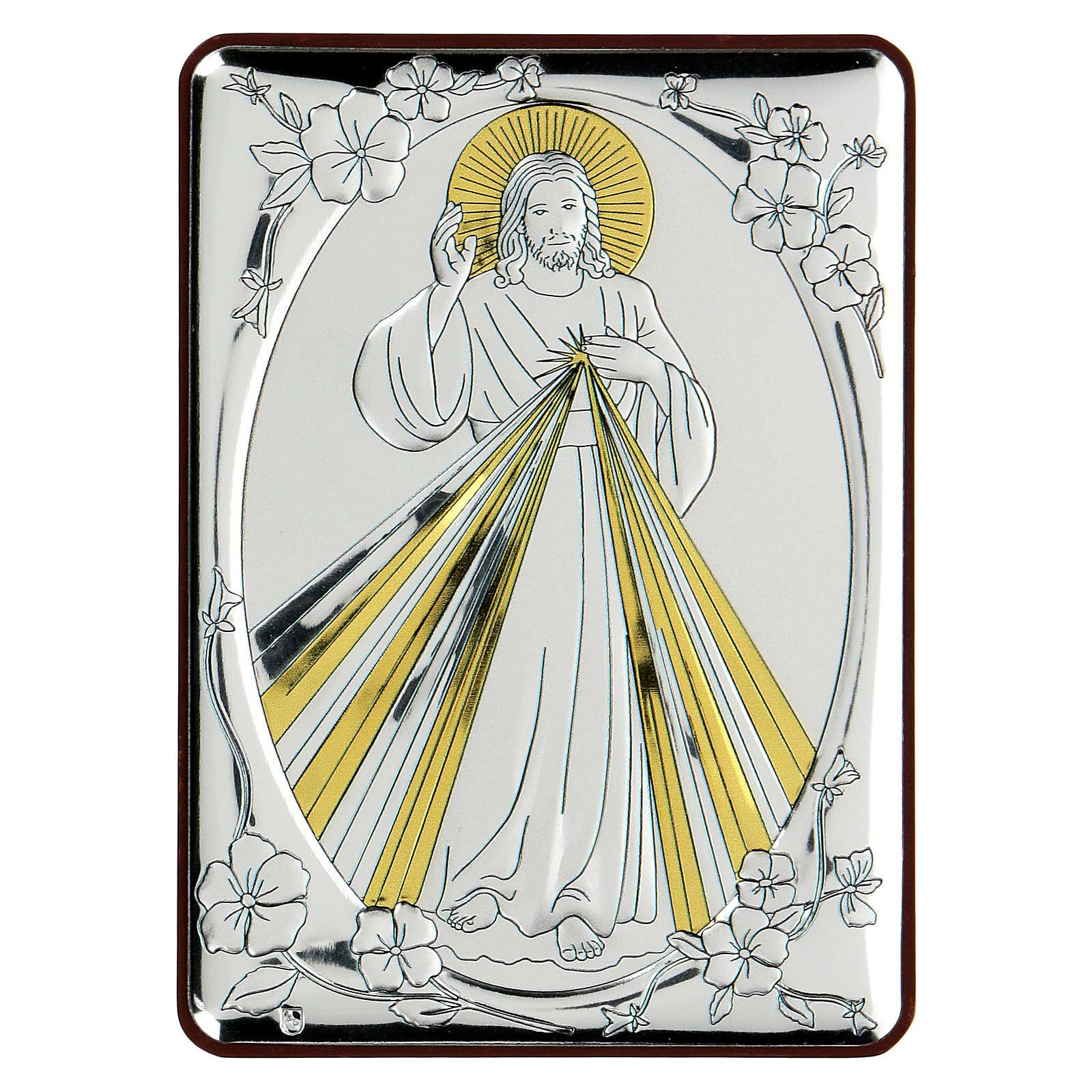 Bas-relief in bilaminate silver Blessing Jesus 10x7 cm 4