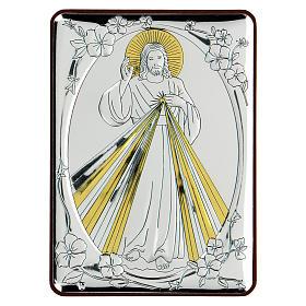 Bas-relief in bilaminate silver Blessing Jesus 10x7 cm s1