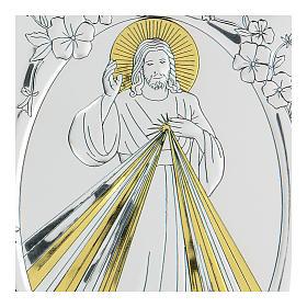 Bas-relief in bilaminate silver Blessing Jesus 10x7 cm s2