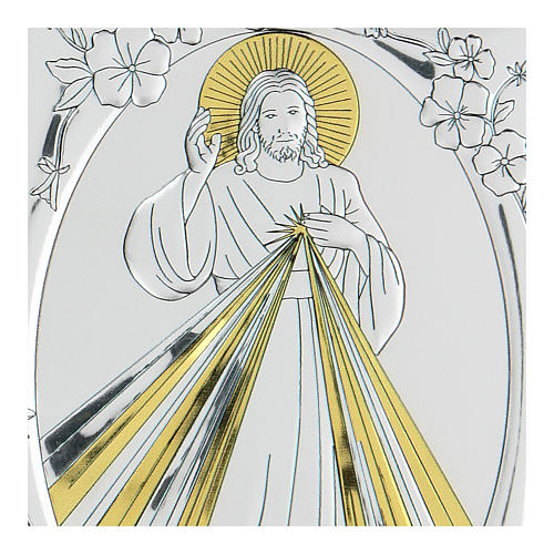 Bas-relief in bilaminate silver Blessing Jesus 10x7 cm 2