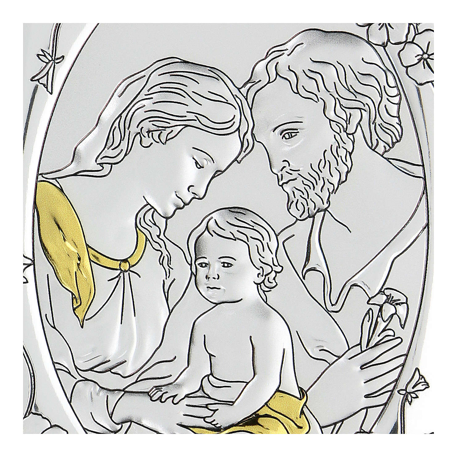 Bas-relief in bilaminate silver Holy Family 10x7 cm 4