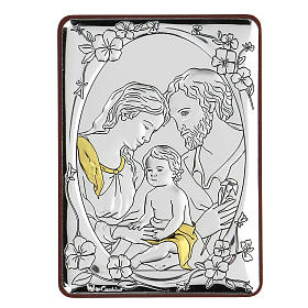 Bas-relief in bilaminate silver Holy Family 10x7 cm s1