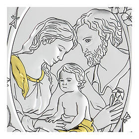 Bas-relief in bilaminate silver Holy Family 10x7 cm s2