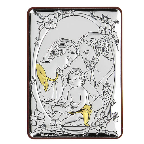 Bas-relief in bilaminate silver Holy Family 10x7 cm 1