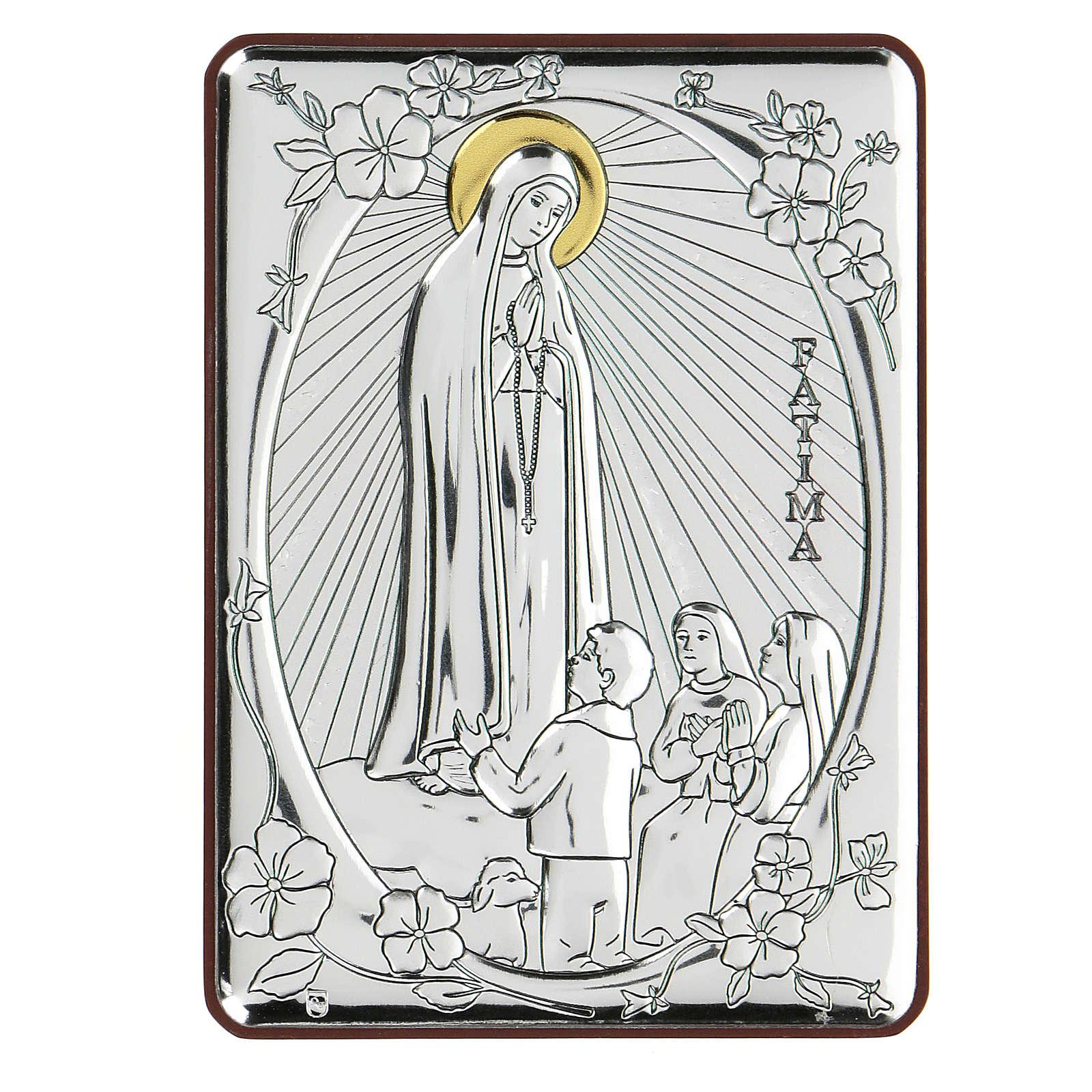 Bas-relief in bilaminate silver Our Lady of Fatima 10x7 cm 4