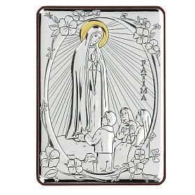 Bas-relief in bilaminate silver Our Lady of Fatima 10x7 cm s1