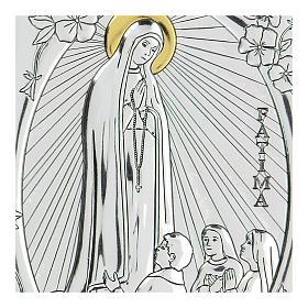 Bas-relief in bilaminate silver Our Lady of Fatima 10x7 cm s2
