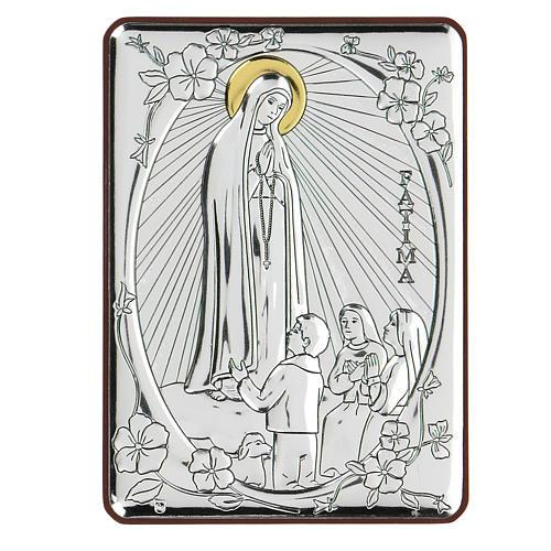Bas-relief in bilaminate silver Our Lady of Fatima 10x7 cm 1