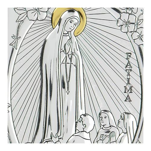 Bas-relief in bilaminate silver Our Lady of Fatima 10x7 cm 2