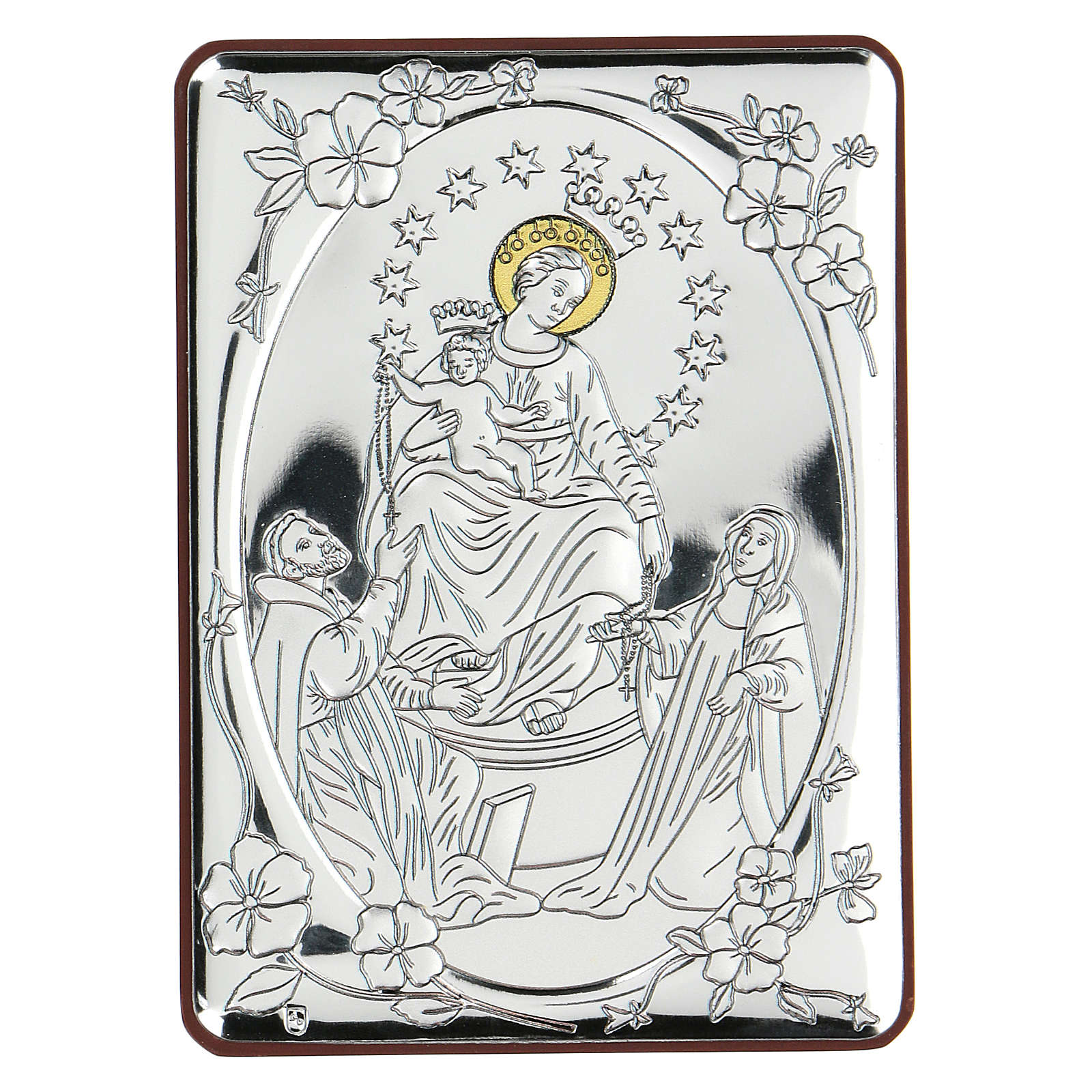 Bajorrelieve bilaminado Virgen con Santos 10x7 cm 4