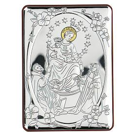 Bassorilievo bilaminato Madonna tra i Santi 10x7 cm s1