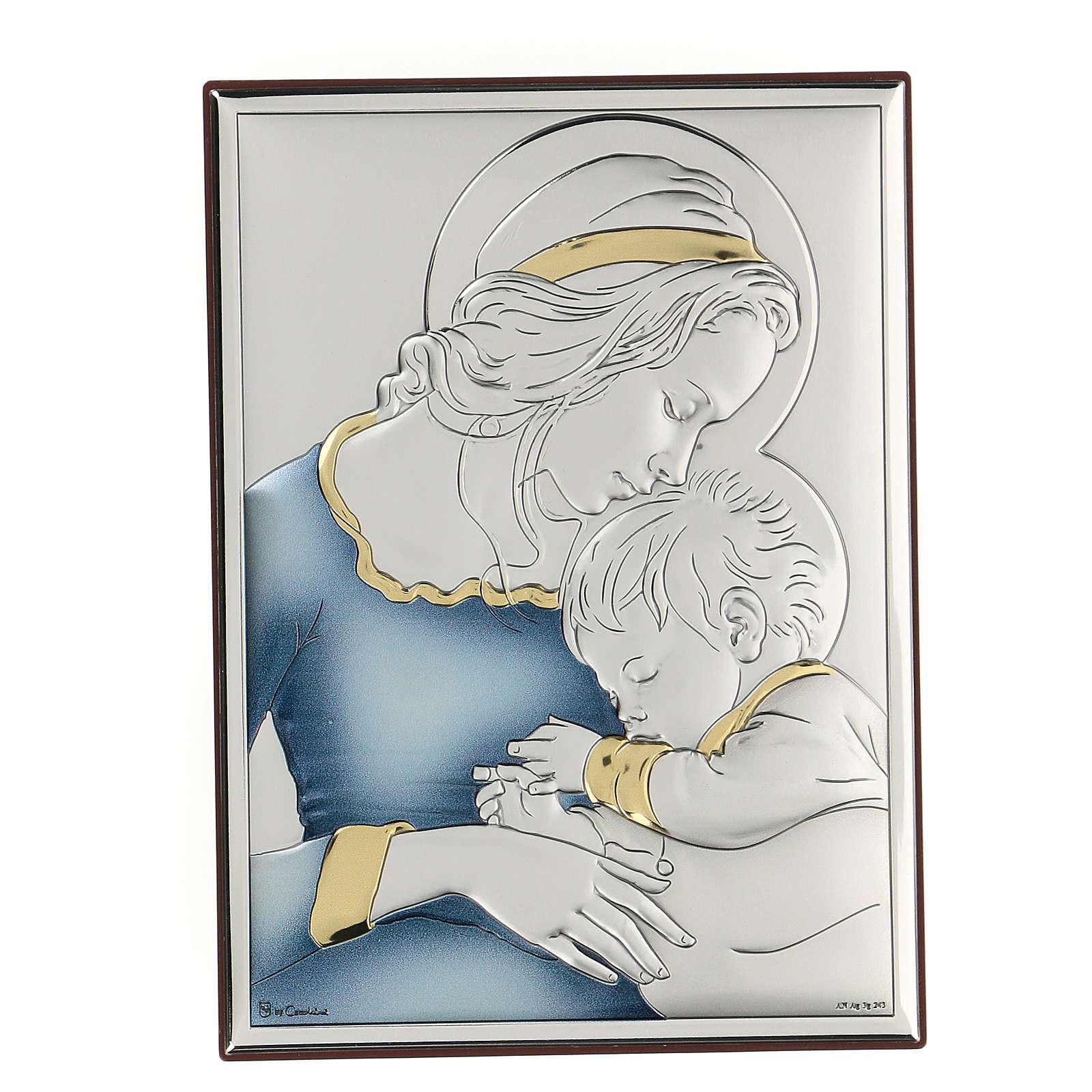 Bassorilievo bilaminato Madonna con bambino di Mugnoz 18x14 cm 4