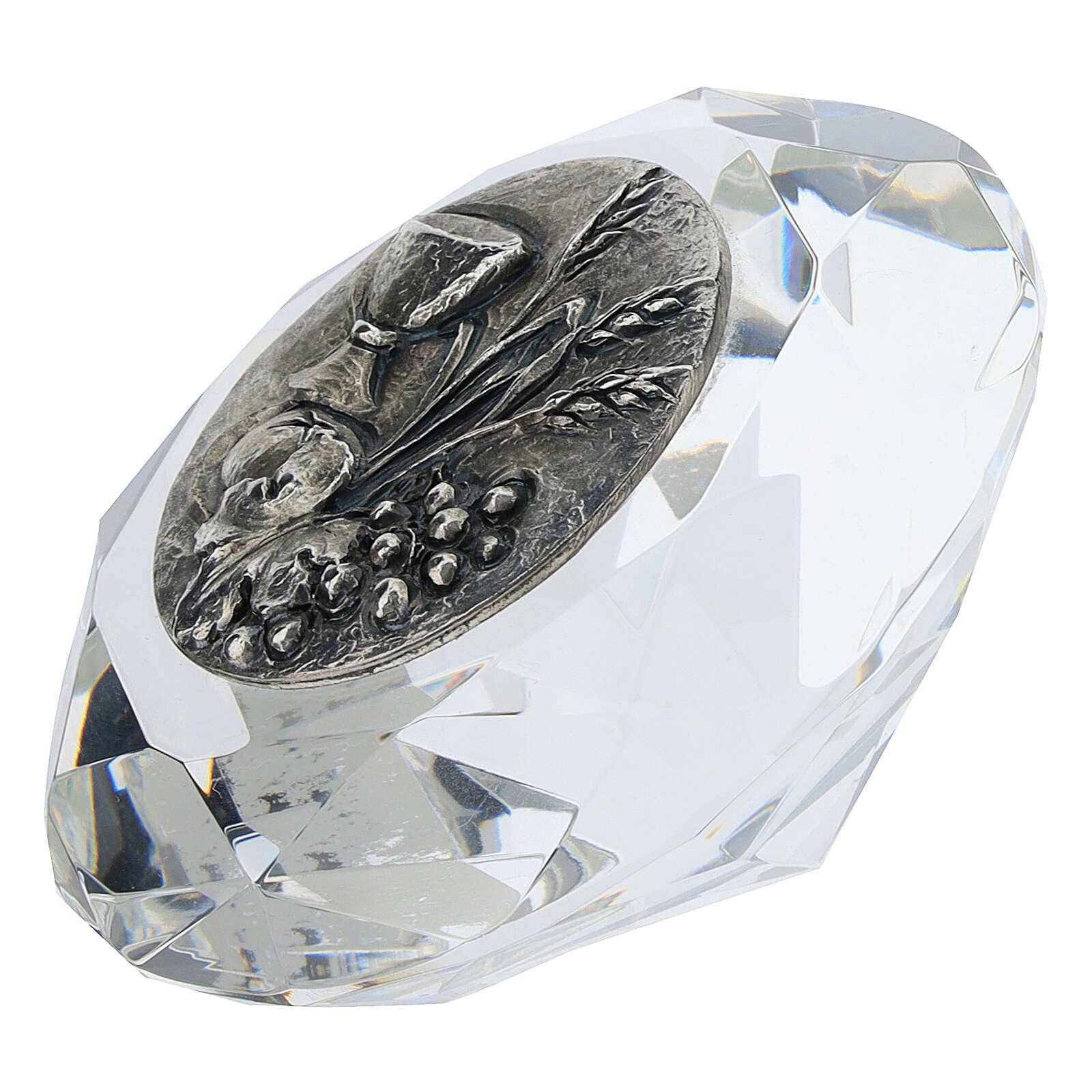 Cadre cristal coupe diamant argent bilaminé Première Communion 3