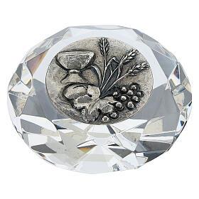 Cadre cristal coupe diamant argent bilaminé Première Communion s1