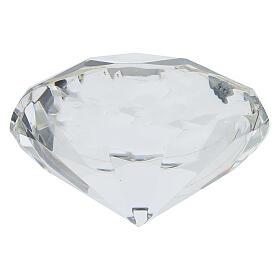 Cadre cristal coupe diamant argent bilaminé Première Communion s3