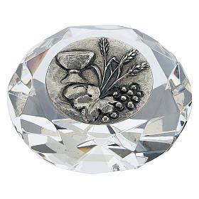 Quadretto cristallo taglio diamante bilaminato Prima Comunione s1