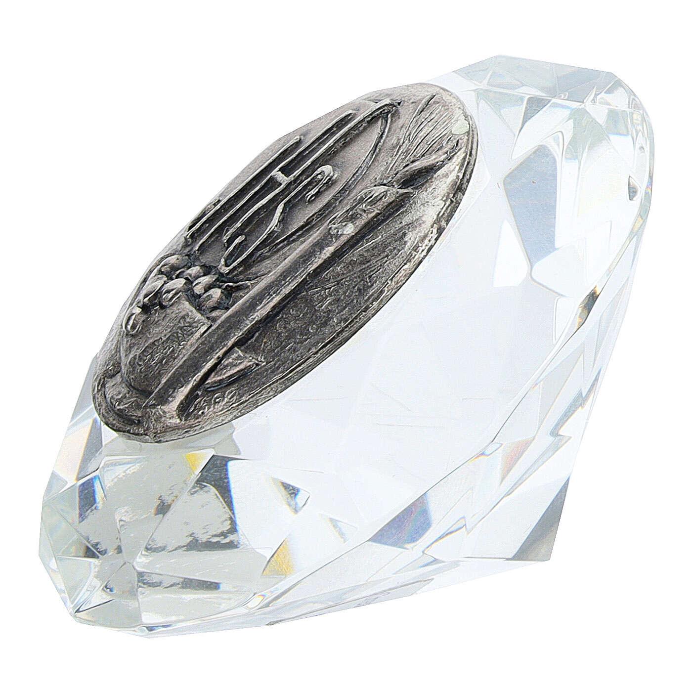 Cadre cristal coupe diamant argent bilaminé JHS 3