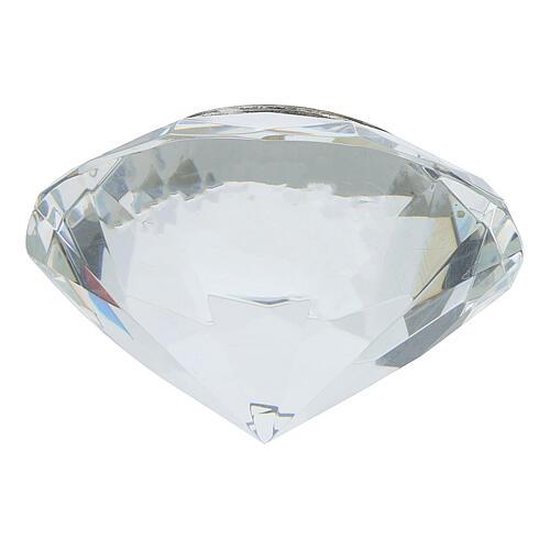 Quadro cristal corte diamante prata bilaminada IHS 3