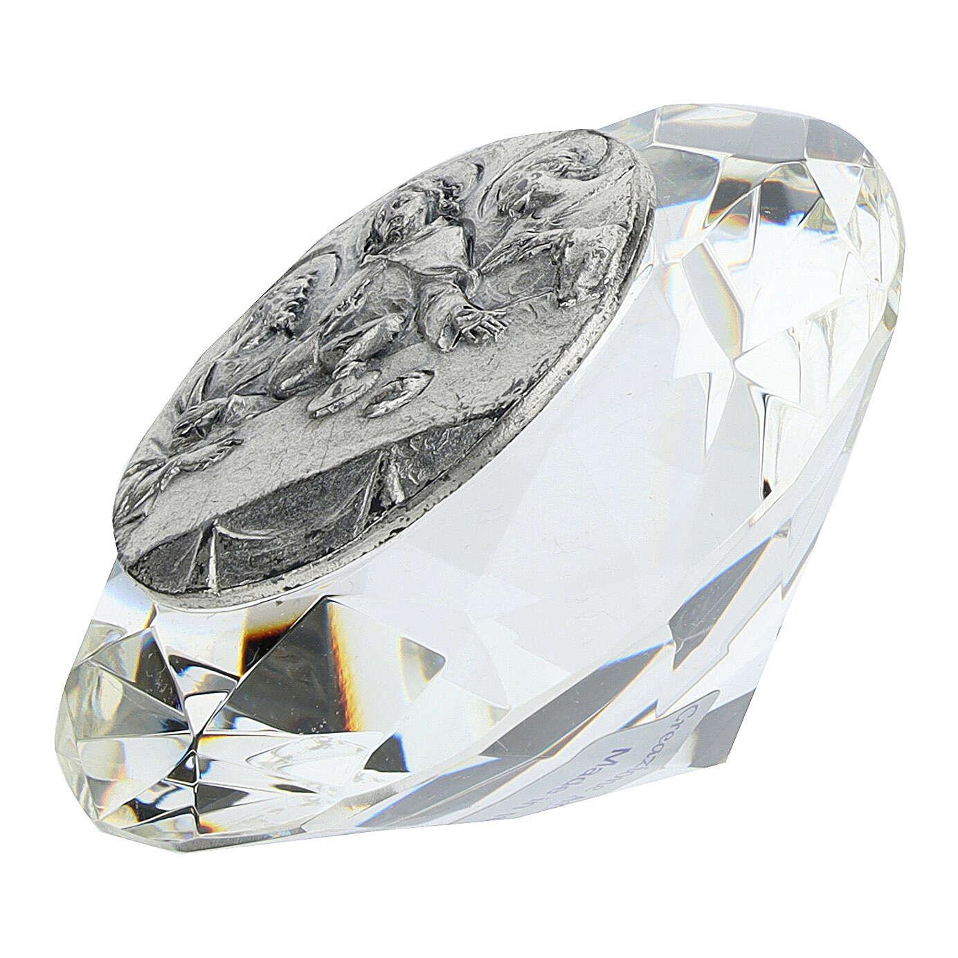 Cadre Cène argent bilaminé cristal en diamant 3