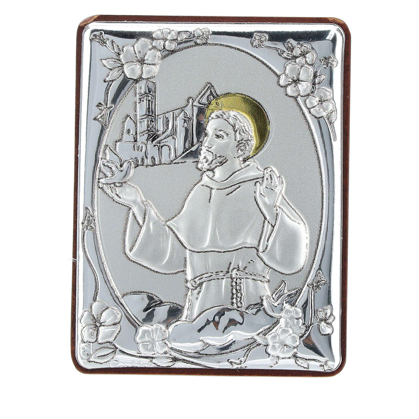 Cadre Saint François argent bilaminé h 6,5 cm 3