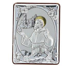 Cadre Saint François argent bilaminé h 6,5 cm s1