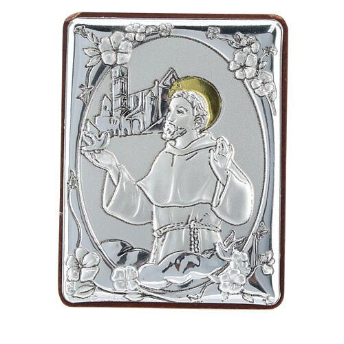 Cadre Saint François argent bilaminé h 6,5 cm 1