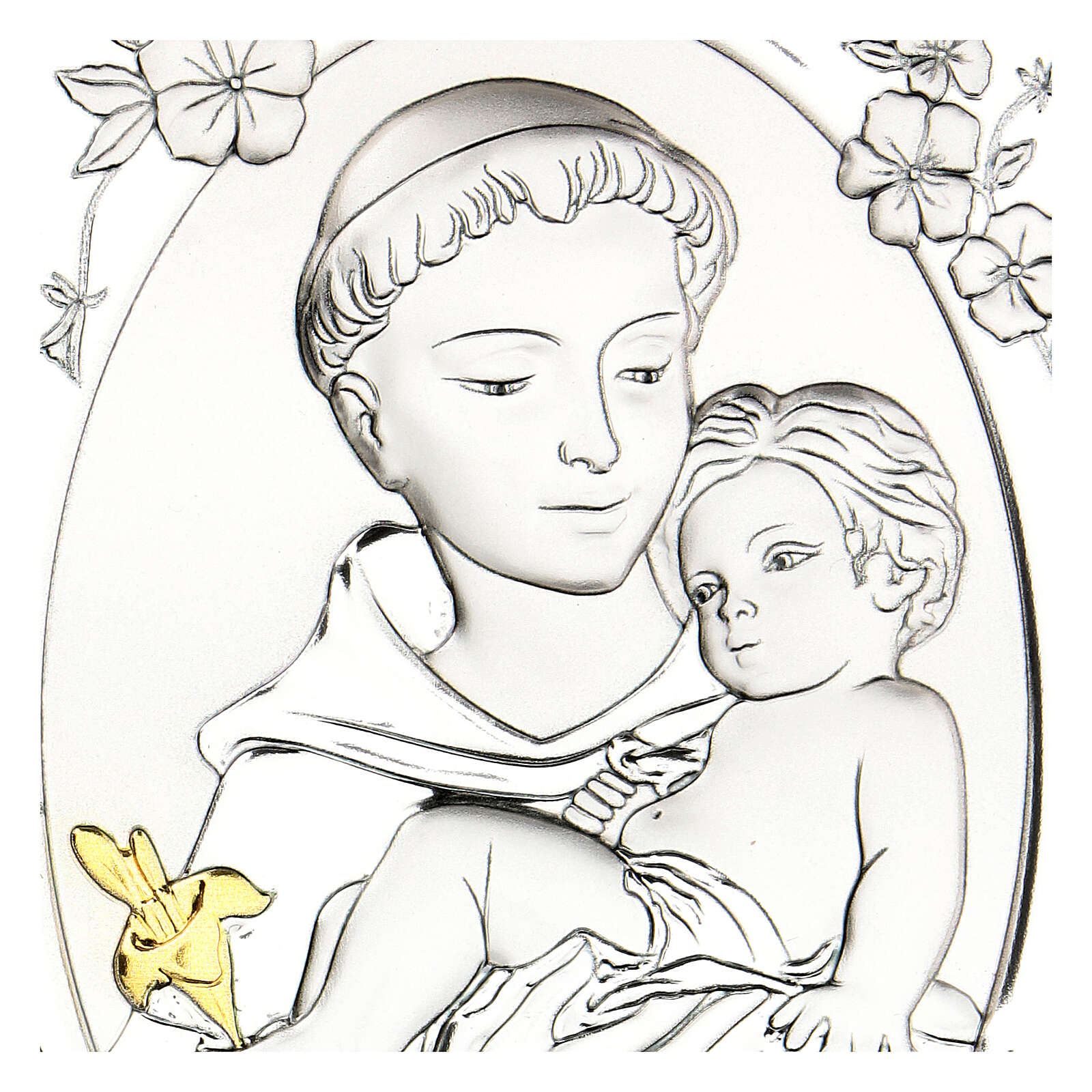 Cadre Saint Antoine argent bilaminé 14x10 cm 3
