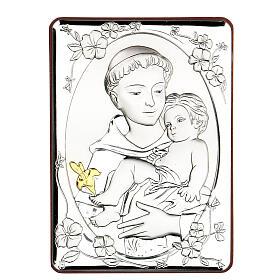 Cadre Saint Antoine argent bilaminé 14x10 cm s1