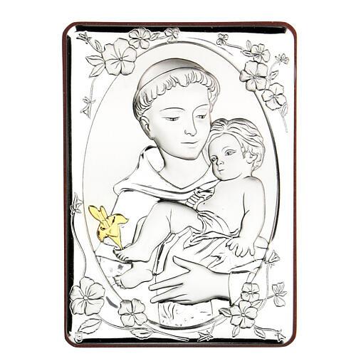 Cadre Saint Antoine argent bilaminé 14x10 cm 1