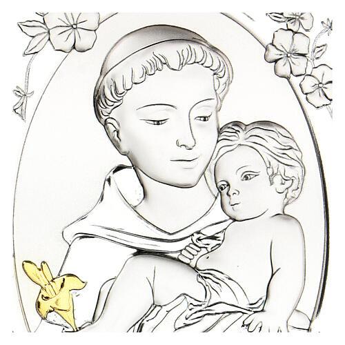 Cadre Saint Antoine argent bilaminé 14x10 cm 2