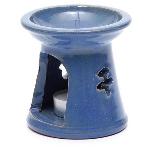 Pebetero vela terracota azul 2