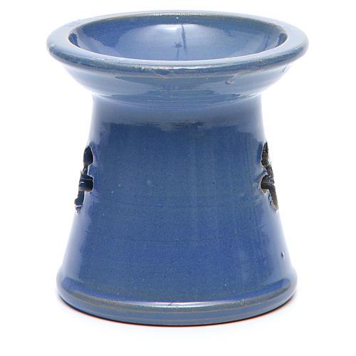 Pebetero vela terracota azul 3