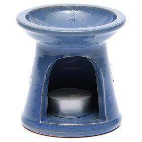 Brule-encens: Brûle essences terre cuite bleu
